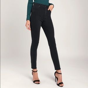 Rolla's Washed Black High-Waisted Skinny Jeans
